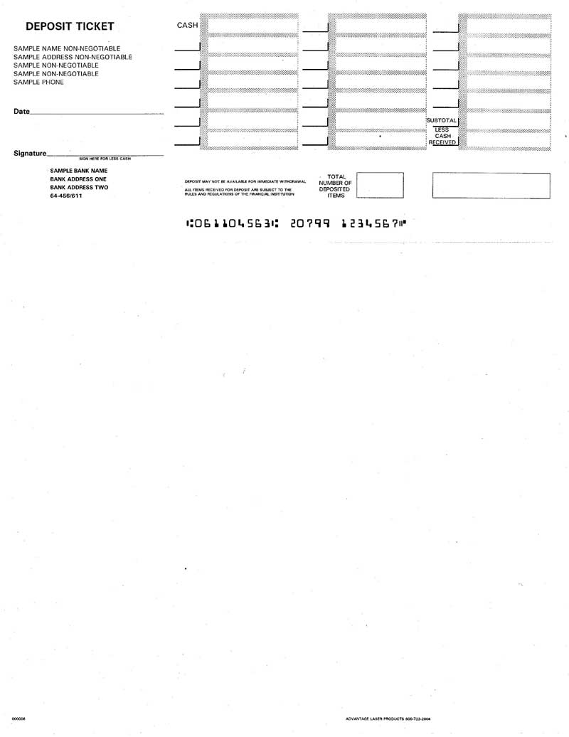 QuickBooks Printable Deposit Slips